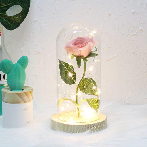 Rose éternelle sous cloche led Rose